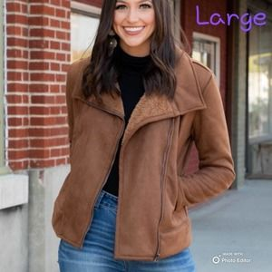 L&B Tan Sherpa Lined Suede Jacket Large